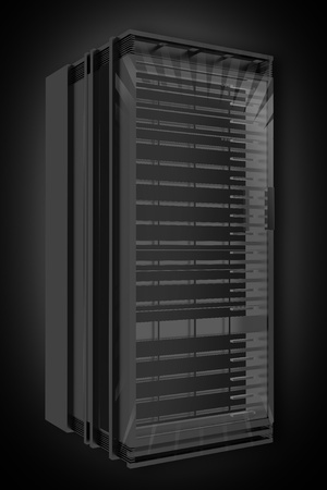 virtualization: Black Server Rack 3D Rendered Illustration  Single Server Rack on Dark-Black Background with Little of Light in the Back  Web Hosting Theme  Stock Photo
