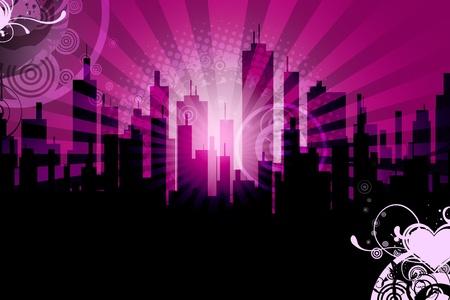 pinky: City Skyline Background  Urban Sun Rays Design - Pinky Urban Background