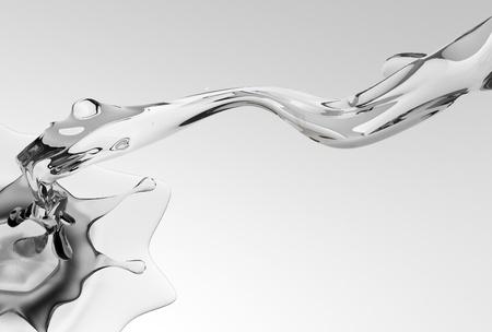 3 D 水スプラッシュ図は灰色の背景で明確な水のしぶき