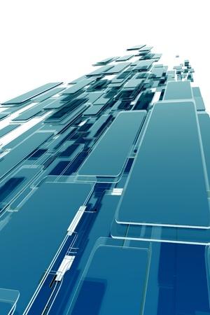 Glassy Blocks Background  Vertical Blue Glassy Blocks 3D Render Design