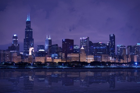 Chicago Skyline Panorama - Chicago Skyline East Side - Lake Front. Horizontal After Dark Photography photo