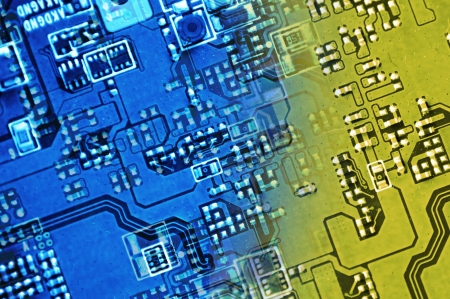 Circuit Board Technology Background - Blue-Yellow Circuit Board Photo Background. photo