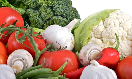 Vegetables Pile  Tomatoes, Broccoli, Mushrooms, Garlic, Green Beans and Cauliflower  Vegetables Dite Mix Horizontal Photo  photo