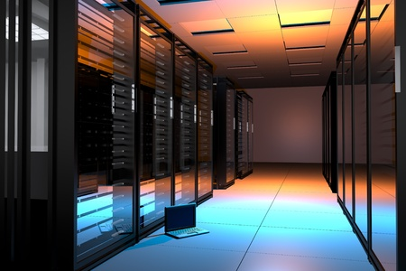 Servers Room with Small Laptop Computer on the Floor - Blue and Orange Lighted  Horizontal 3D Render Illustration