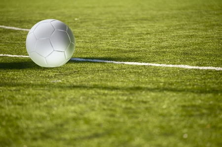 Football Field with BallSoccer Ball on the Green Football Field. Euro Football Theme. Horizontal Illustration.