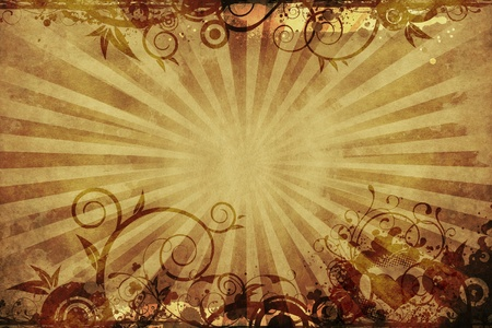 copy center: browny Vintage Floral Background with Rays and Floral Ornaments. Copy Space in the Center. Vintage Backgrounds Collection