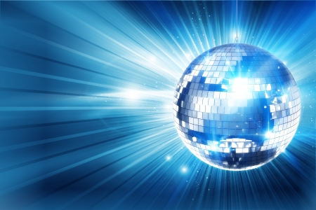 Shiny Disco Fondo Azul Ball. Catche Gran Ojo Disco de fondo para su evento. 3d rindi� la ilustraci�n con copia espacio. photo