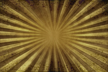 grunge backgrounds: Dirty Dark Green Vintage Background with Floral Ornaments on the Top and the Bottom. Rays Coming From Center of the Background.