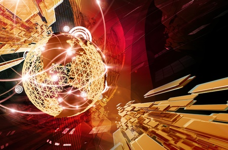 global communication: Business Background. Cool Dark Red-Golden Glowing Business Background. 3D Rendered Illustration. Globe Structure with Glowing Worldwide Cities and Connections. Great Background for Global Companies.