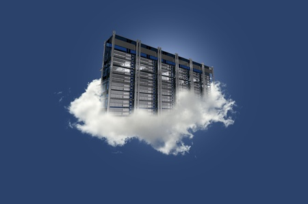 Cloud Server on the Sky. Cloud Data Center Floating on the Small Cloud. Clear Blue Sky. Cloud Technology Theme. photo