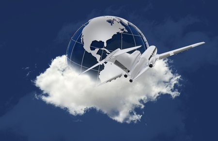 passanger: Traveling Around the World. Globe on the Cloud and Passanger Aircraft Flying Around. Solid Blue Background. Travel-Destination or Traveling Business Theme. Stock Photo