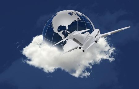 pilotos aviadores: Viajar alrededor del mundo. Globo en el avión nube y Passanger volando alrededor. Fondo de color azul. Travel-Destino o de viaje de negocios tema.