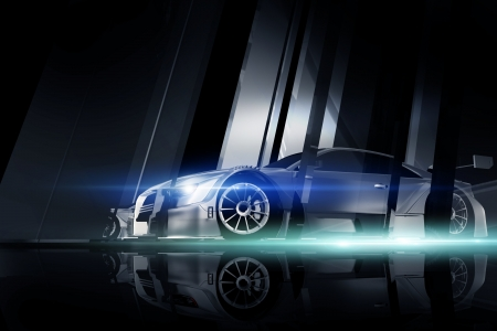 motorsport: Performance Vehicle Between Glass and Metal Blocks. Great Performance Sporty Vehicle - Motorsport Dark Theme. 3D Generated Illustration.