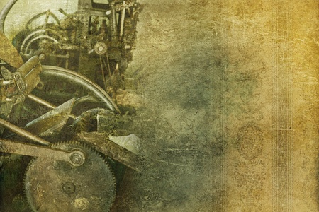 Old Machinery Vintage Background. Grungy Background with Some Old Press Machine and Floral Wallpaper. Right Side Copy Space.