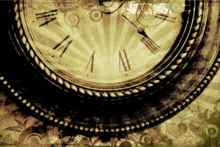 old fashioned sepia: Vintage Clock Background with Floral Ornaments and Rays. Sepia Old-Fashioned Time  Clock Theme.