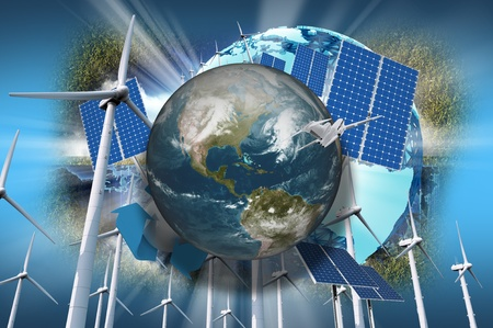 composition: Global Ecology Illustration. Planet Earth, Wind Turbines, Solar Panels, Some Grass and Airplane on Blue Background. Alternative Energy - Ecology Theme.