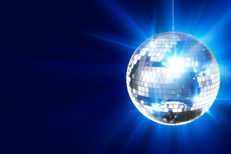 Disco Background with Shiny Retro Disco Ball. Great Background for Disco Party or Small Karaoke Event. Blue Theme Фото со стока - 13178753