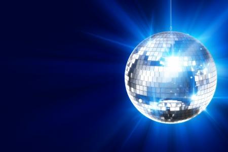 disco parties: Disco de fondo con la bola brillante Disco Retro. Gran fondo para Disco Party o un evento peque�o Karaoke. Blue Theme