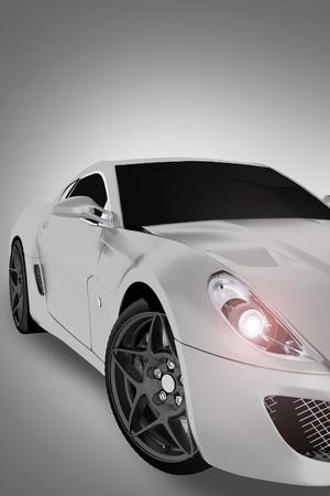 スポーツの車両前面部分- 現代スポーツの高パフォーマンスの車。垂直 3 D イラスト。