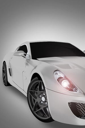 partial: Sports Vehicle Front  Partial  - Modern Sport-High Performance Vehicle. Vertical 3D Illustration.