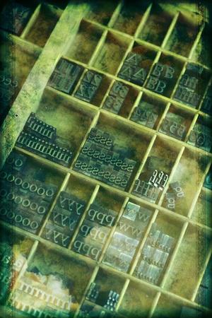 typer: Printing Tray Full of Letterpress - Vintage Grunge Letterpress Background. Vertical Design.