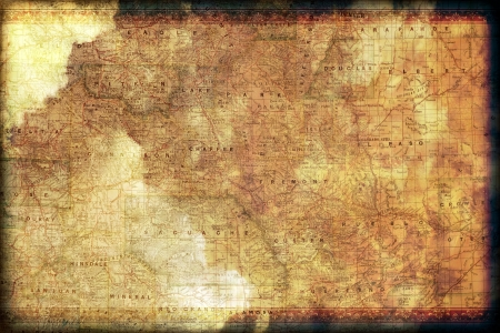 colorado: Vintage Colorado Map Background with Floral Frame. Grunge Old Map Background.