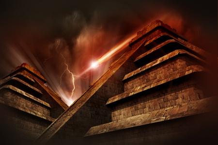 cultura maya: Maya Apocalipsis - Las pir�mides mayas, tormenta el�ctrica y asteroide procedente del espacio. Rojo C�lido-Browny pel�cula como tonos de color. Tema Armageddon fr�o.