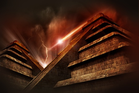 end of the world: Mayan Apocalypse  - Mayan Pyramids, Lightning Storm and Asteroid Coming from the Space. Warm Red-Browny Movie Like Color Tones. Cool Armageddon Theme.