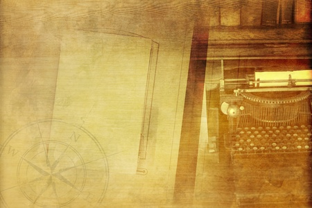 history books: Vintage Writer Background with Old Typewriter Machine, Empty Album, Books and Compass Rose. Sepia Colors.  Stock Photo