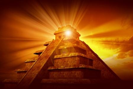cultura maya: Pirámide Maya Mystery - Tema Pirámide maya civilización con rayos misteriosos Sin proveniente de la punta de la pirámide. Tema gran tribulación.