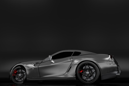 powerful: Powerful Sporty Car Profile. Dark Theme. Polished Metallic Vehicle Body. Copy Space Above the Car.