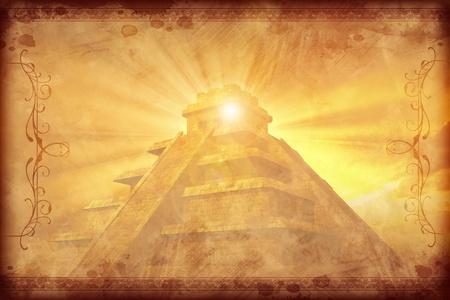 cultura maya: Antecedentes Maya de la vendimia con adornos más oscuros. Oro-Browny Civilización Maya vintage con el fondo de pirámide maya. Foto de archivo