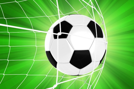 Soccer Ball in a Net  Soccer Goal. Euro Football Theme. Green Background with Sun Rays. 3D Render illustration. Sport Illustrations Collection. Stock Photo