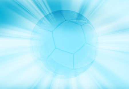 Shiny Blue Soccer Ball Background. Soccer Ball (European Football) in the Center and Rays Coming Around. Light Blue Theme. photo