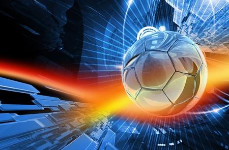 Global Football Actie Achtergrond. Cool Blur-Red Action Achtergrond - Soccer Theme (Europese voetbalbond) 3D Render Illustratie. Stockfoto
