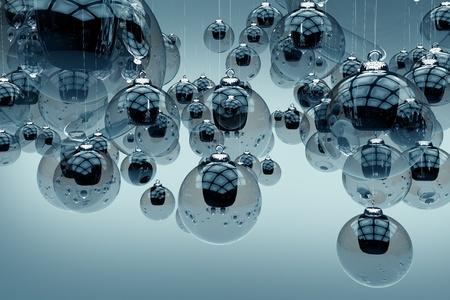 유리 휴일 장식품 - 연한 파란색 배경에 밝은 파란색 유리 크리스마스 장식품. 3D 렌더링 된 크리스마스 그림