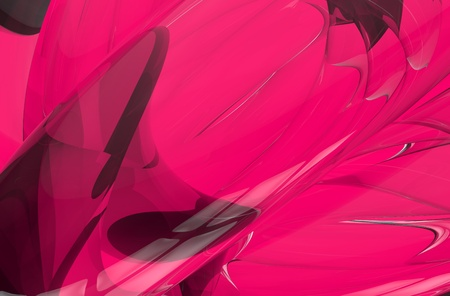 Pink 3D Abstract Background. Glassy Elements Composition. 3D Rendered. Horizontal Background.