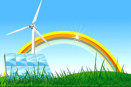 Illustrazione di energia naturale con arcobaleno, pannelli solari e turbine a vento sul prato. Archivio Fotografico - 13226646