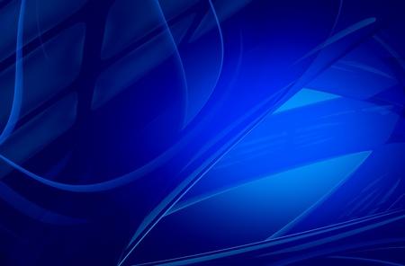 glassy: Elegant Glassy Blue Background. Abstract Dark Blue Background - Glassy Transparent Objects. Horizontal 3D Render Stock Photo