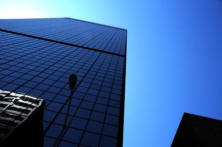 Blauwe wolkenkrabber. Downtown Chicago USA. Amerikaanse architectuur. Commerciële Gebouwen. Stockfoto