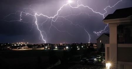 lightnings: Extreme Lightning Storm - Thunderstorm. Summer Storm in Colorado, USA. Nigh Sky with Many Lightnings.