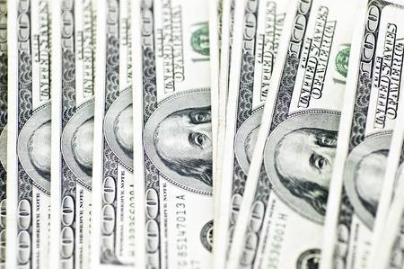 100 Dollar Bills. Few Bills Background. Banco de Imagens