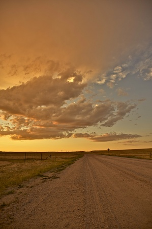 great plains: Country Road  Great American Plains Road at Sunset  Vertical Photo
