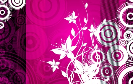 Floral Pinky Abstract Illustration with Flowers and Circles. Dark Pink Background. Vector Art - Raster File Stock Photo