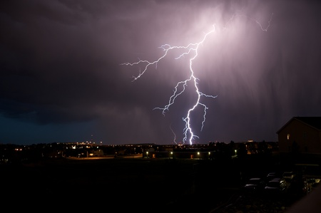 Lightning Strike. Severe Weather in Colorado. Night Thunderstorm. photo