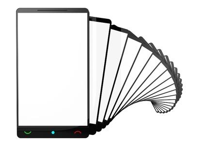 스마트 폰의 빈 화면. 3D 렌더링 그림. 흰색 배경> 스마트 폰 행