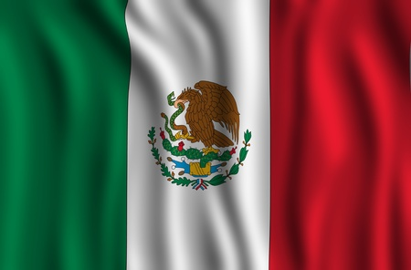 Mexican National Flag. Mexico Country - Waving Flag Illustration