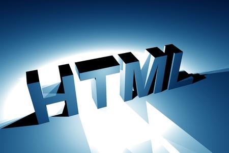 Blue HTML Language Illustration. 3D Rendered Illustration. Internet Theme. Stock Photo