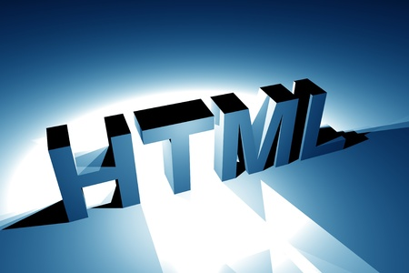 scripting: Blue HTML Language Illustration. 3D Rendered Illustration. Internet Theme. Stock Photo