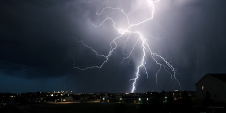 Extreme Weather - Summer Lightning Storm Over Colorado. Panoramic Photo